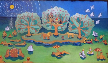 Tree House With A Mouse, oil on canvas, 32 by 50 inches