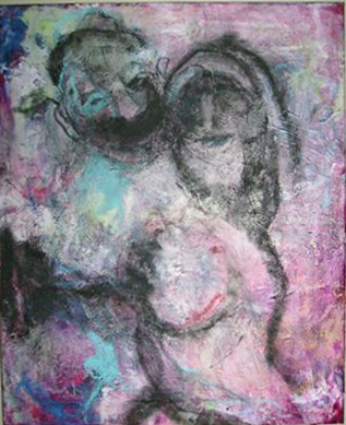 Untitled acrylic and charcoal on canvas by J. Paul Heiner is 20 by 14 inches and priced at $1,200.