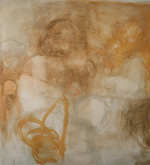 """""""Visions of Eco II"""" is 54 by 60 inches, milk paint on cotton canvas, priced at $1,500."""